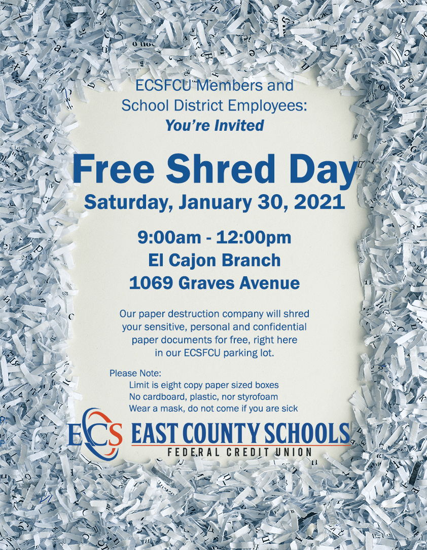 Shred Day ECSFCU Jan 30 2021 You're Invited