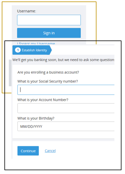 Screen capture showing the process of establishing your identity for online banking